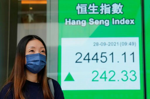 Asia shares mostly fall on China energy, Evergrande worries