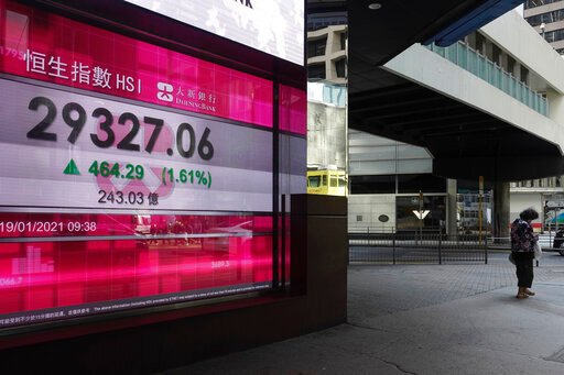 Asian shares mostly higher as Biden inauguration approaches