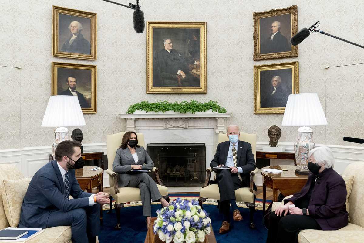 Joe Biden, Janet Yellen, Kamala Harris, Brian Deese