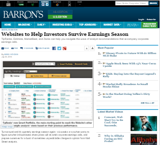 screenshot of Barron's article naming MarketBeat as a helpful site for investors during earnings season