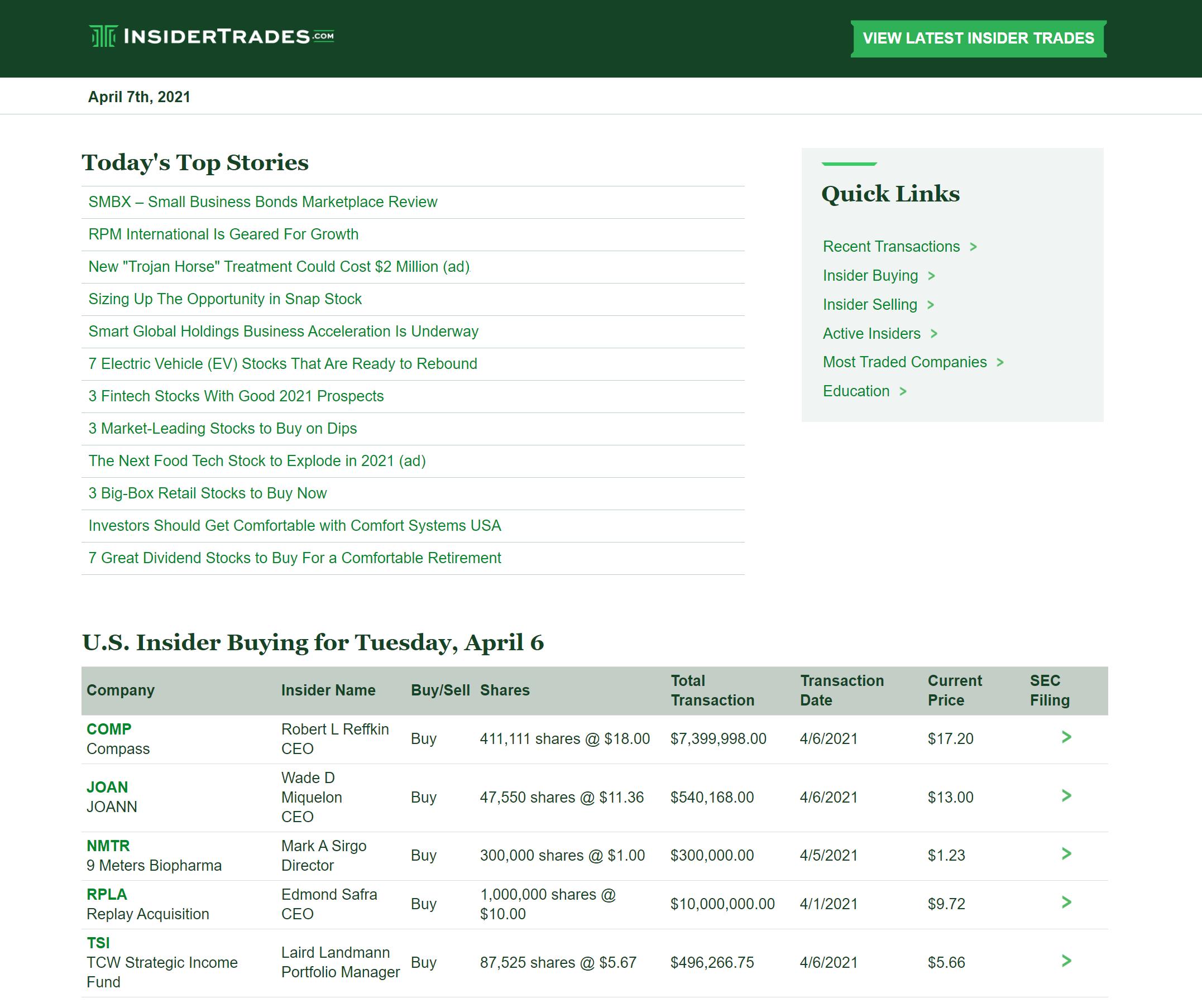 Insider Trades Newsletter screenshot