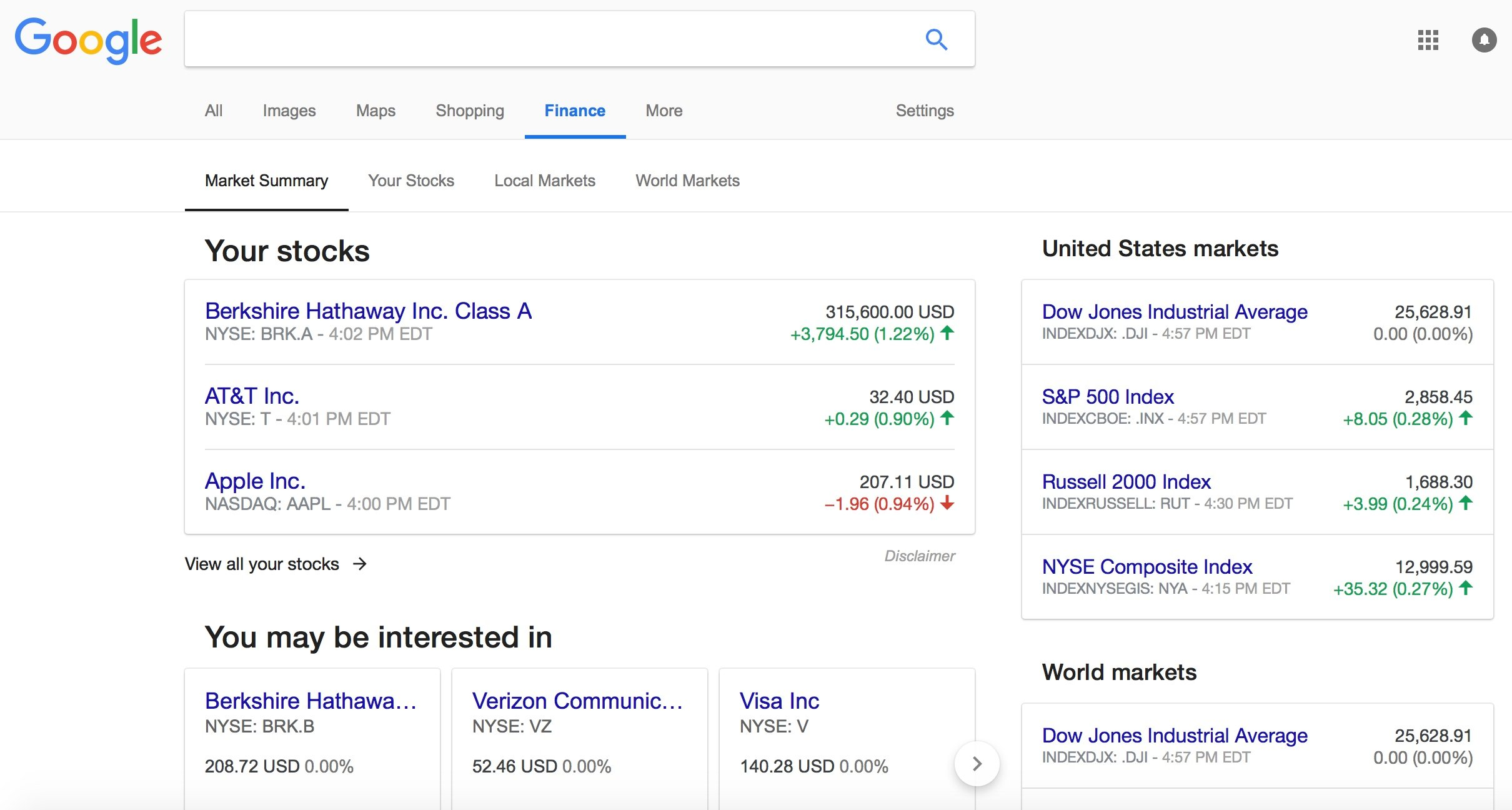 Screenshot Of The New Google Finance