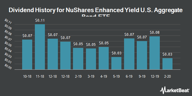 Dividend Payments by Quarter for NuShares Enhanced Yield U.S. Aggregate Bond ETF (NYSEARCA:NUAG)