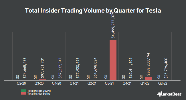 Insider Trades by Quarter for Tesla (NASDAQ:TSLA)